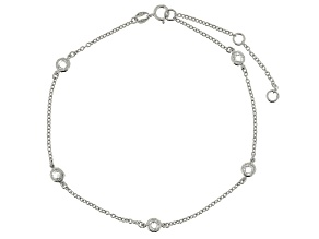Bella Luce™ 2.5ct Rhodium Over Sterling Silver Station Anklet