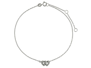 Bella Luce™ .29ct Diamond Simulant Rhodium Over Sterling Silver Heart Anklet