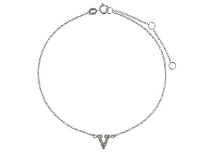 Bella Luce™ .19ct Rhodium Over Sterling Silver initial