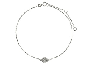 Bella Luce™ 4.5ct Diamond Simulant Rhodium Over Sterling Silver Flower Anklet