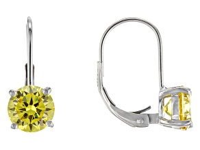 Bella Luce® 4.00ctw Yellow Diamond Simulant Silver Leverback Earrings