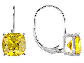 Bella Luce® 8.11ctw Yellow Diamond Simulant Silver Leverback Earrings