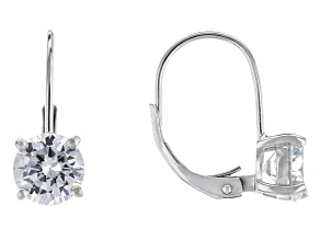 Bella Luce® 4.10ctw Diamond Simulant Rhodium Over Silver Leverback Earrings