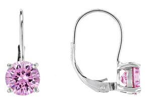 Bella Luce® 4.04ctw Pink Diamond Simulant Rhodium Over Sterling Silver Leverback Earrings