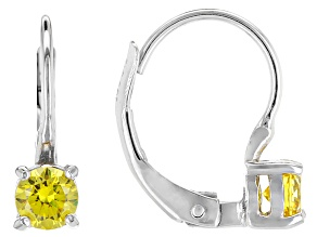 Bella Luce® .86ctw Yellow Diamond Simulant Silver Leverback Earrings