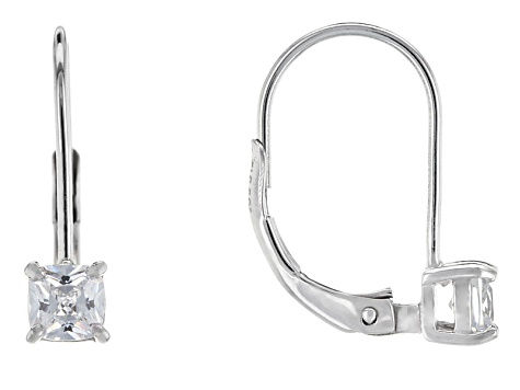 Bella Luce® .99ctw Diamond Simulant Rhodium Over Silver Leverback Earrings