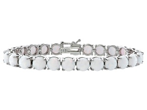 Round 11.25ctw Opal Simulant Rhodium Over Sterling Silver Tennis Bracelet