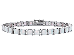 Princess Cut 6.24ctw Opal Simulant Rhodium Over Sterling Silver Tennis Bracelet