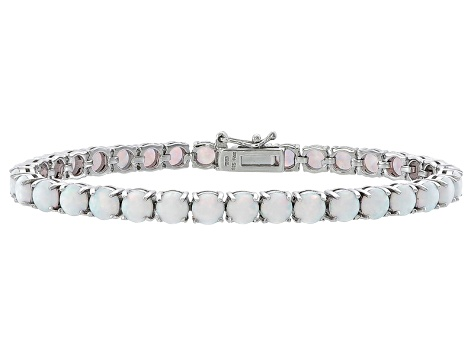 Round 6.48ctw Opal Simulant Rhodium Over Sterling Silver Tennis Bracelet