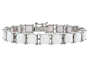 Princess Cut 12.47ctw Opal Simulant Rhodium Over Sterling Silver Tennis Bracelet