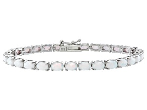 Oval 5.20ctw Opal Simulant Rhodium Over Sterling Silver Tennis Bracelet