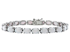Oval 10.40ctw Opal Simulant Rhodium Over Sterling Silver Tennis Bracelet
