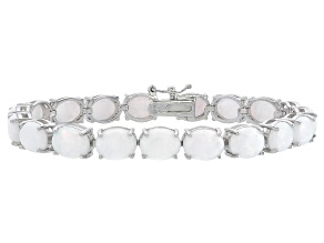 Oval 12.00ctw Opal Simulant Rhodium Over Sterling Silver Tennis Bracelet