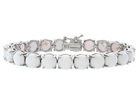 Round 11.88ctw Opal Simulant Rhodium Over Sterling Silver Tennis Bracelet