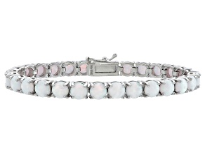 Round 7.30ctw Opal Simulant Rhodium Over Sterling Silver Tennis Bracelet