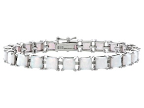Princess Cut 9.43ctw Opal Simulant Rhodium Over Sterling Silver Tennis Bracelet