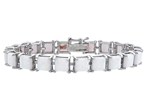 Princess Cut 9.50ctw Opal Simulant Rhodium Over Sterling Silver Tennis Bracelet