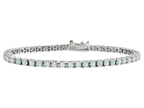 Round 2.45ctw Opal Simulant Rhodium Over Sterling Silver Tennis Bracelet