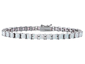 Princess Cut 5.06ctw Opal Simulant Rhodium Over Sterling Silver Tennis Bracelet