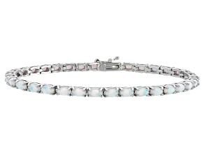 Oval 3.23ctw Opal Simulant Rhodium Over Sterling Silver Tennis Bracelet