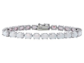 Oval 7.50ctw Opal Simulant Rhodium Over Sterling Silver Tennis Bracelet