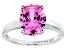 Bella Luce ® 4.31ctw Oval Pink Diamond Simulant Rhodium Over Sterling Silver Solitaire Ring