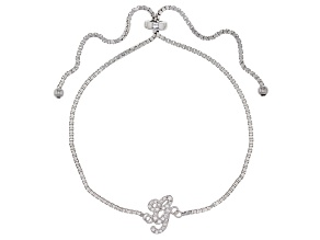 White Cubic Zirconia Rhodium Over Silver Initial