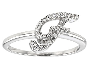 White Cubic Zirconia Rhodium Over Sterling Silver Initial F Ring 0.25ctw