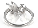 White Cubic Zirconia Rhodium Over Sterling Silver Initial