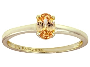 Bella Luce® .73ct Champagne Diamond Sim 18k Gold Over Silver Solitaire Ring