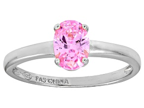 Bella Luce® 1.3ct Oval Pink Diamond Sim Rhodium Over Silver Solitaire Ring