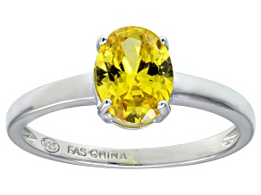 Bella Luce® 2.06ct Oval Yellow Diamond Simulant Rhodium Silver Solitaire Ring