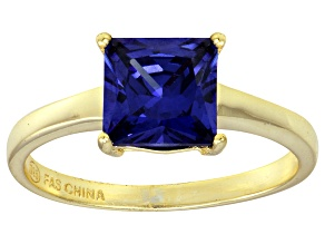 Bella Luce® 3.33ct Tanzanite Simulant 18k Gold Over Silver Solitaire Ring