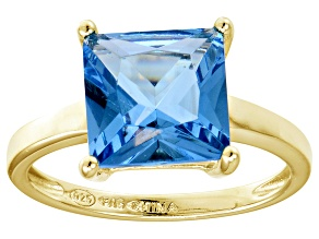 Bella Luce® 7.0ct Princess Cut Apatite Sim 18k Gold Over Silver Solitaire Ring