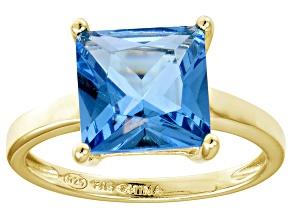 Bella Luce® 7.0ct Princess Cut Apatite Sim 18k Gold Over Silver Solitaire Ring