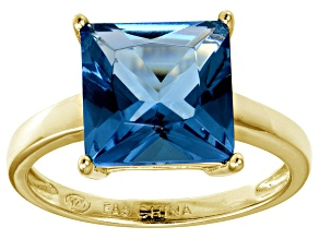 Bella Luce® 9.56ct Princess Cut Apatite Sim 18k Gold Over Silver Ring