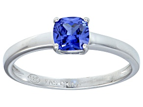 Bella Luce® 1.05ct Cushion Tanzanite Sim Rhodium Over Silver Solitaire Ring