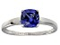 Bella Luce® 1.55ct Cushion Tanzanite Sim Rhodium Over Silver Solitaire Ring