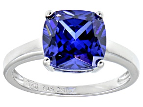 Bella Luce® 5.95ct Cushion Tanzanite Sim Rhodium Over Silver Solitaire Ring