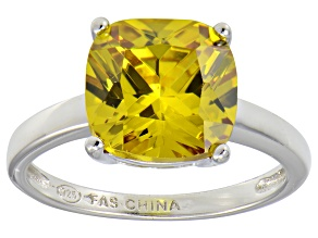 Bella Luce® 7.40ct Yellow Diamond Simulant Rhodium Over Silver Solitaire Ring