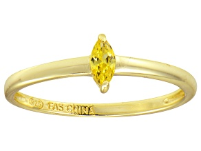 Yellow Cubic Zirconia 18K Yellow Gold Over Silver Solitaire Ring .24ct