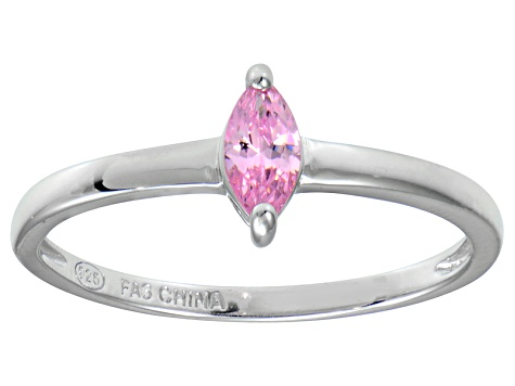 Bella Luce® .41ct Pink Diamond Simulant Rhodium Over Silver Solitaire Ring
