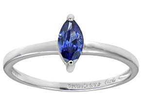Bella Luce® 0.6ct Marquise Tanzanite Sim Rhodium Over Silver Solitaire Ring