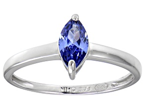 Bella Luce® 0.8ct Marquise Tanzanite Sim Rhodium Over Silver Solitaire Ring