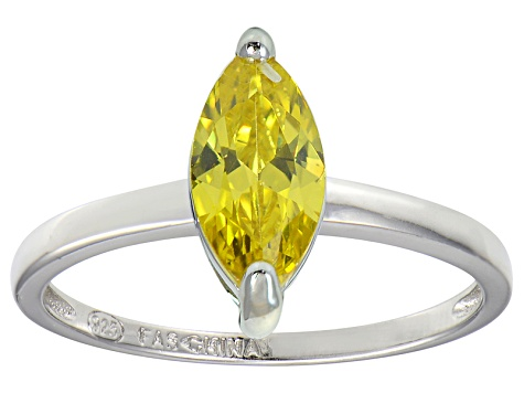 Bella Luce® 1.62ct Yellow Diamond Simulant Over Sterling Silver Solitaire Ring