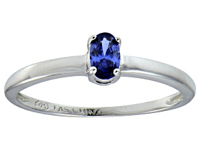 Bella Luce® .35ct Oval Tanzanite Simulant Rhodium Over Silver Solitaire Ring