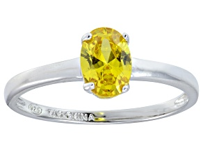 Bella Luce® 1.3ct Oval Yellow Diamond Sim Rhodium Over Silver Solitaire Ring