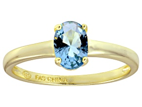 Bella Luce® 1.3ct Oval Apatite Simulant 18k Gold Over Silver Solitaire Ring