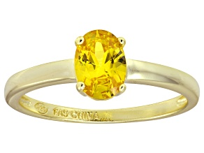 Bella Luce® 1.3ct Oval Yellow Diamond Sim 18k Gold Over Silver Solitaire Ring