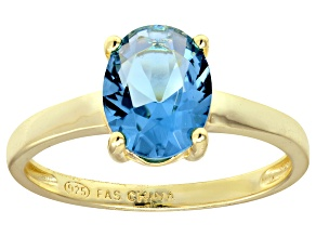 Bella Luce® 3.16ct Oval Apatite Simulant 18k Gold Over Silver Solitaire Ring